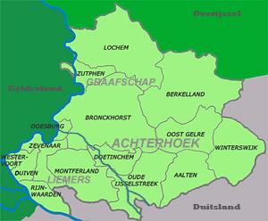 Kaart  Regio Achterhoek - Liemers